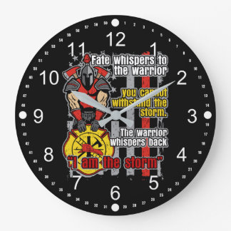 Firefighter I Am the Storm Large Clock