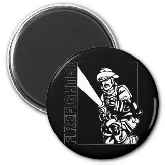 Firefighter in Black and White 2 Inch Round Magnet