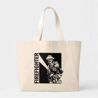 Firefighter in Black and White Large Tote Bag