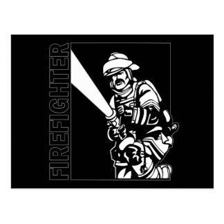 Firefighter in Black and White Postcard