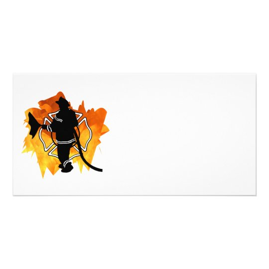 Firefighter In Flames Card