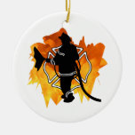 Firefighter IN Flames Ceramic Ornament