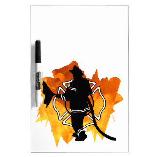 Firefighter In Flames Dry-Erase Board