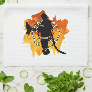 Firefighter In Flames Kitchen Towels