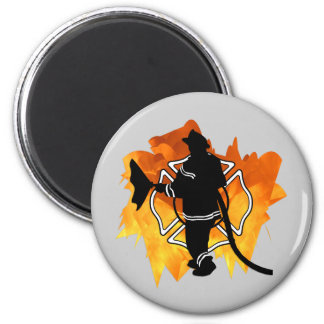 Firefighter IN Flames Magnet
