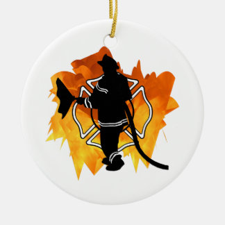 Firefighter IN Flames Ornament