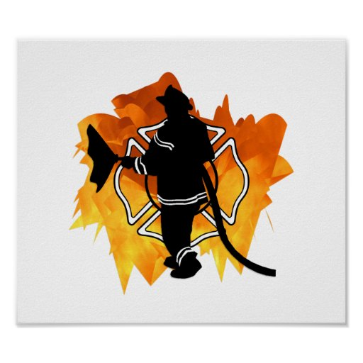 Firefighter IN Flames Poster