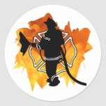 Firefighter in Flames Sticker