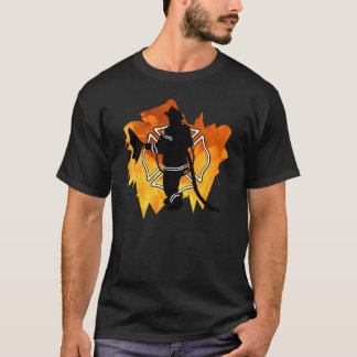 Firefighter In Flames T-Shirts & Apparel
