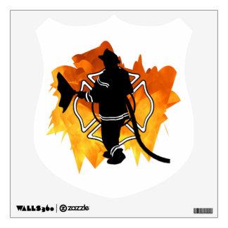 Firefighter In Flames Wall Skin