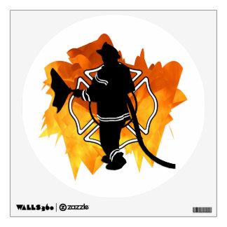 Firefighter In Flames Room Sticker