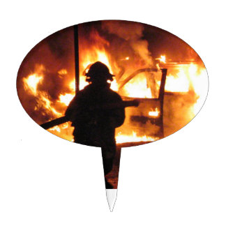 Firefighter In The Flames Cake Topper