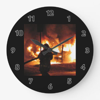 Firefighter In The Flames Large Clock