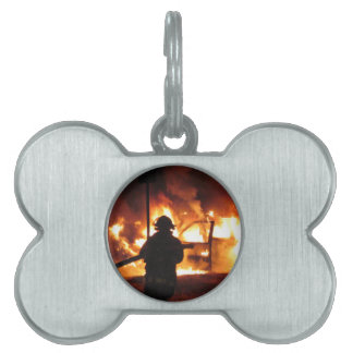 Firefighter In The Flames Pet ID Tag