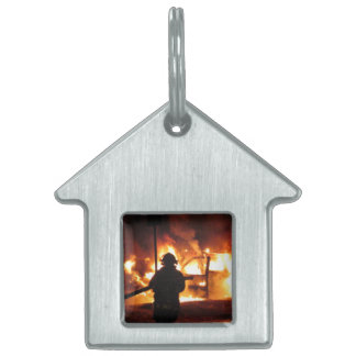 Firefighter In The Flames Pet ID Tags