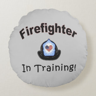 Firefighter In Training Round Pillow
