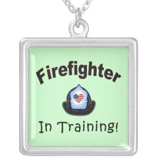 Firefighter In Training Square Pendant Necklace