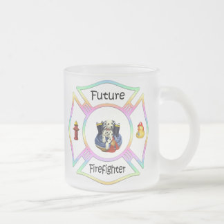 Firefighter Kids 10 Oz Frosted Glass Coffee Mug