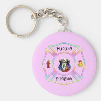 Firefighter Kids Basic Round Button Keychain