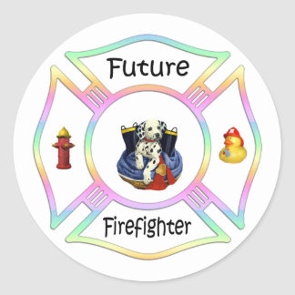Firefighter Kids Classic Round Sticker