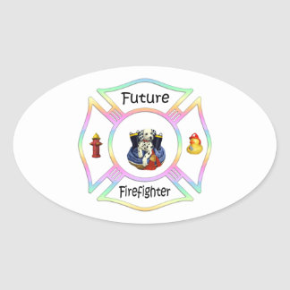 Firefighter Kids Oval Sticker
