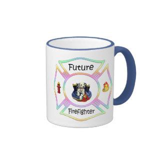 Firefighter Kids Ringer Coffee Mug