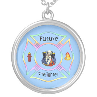 Firefighter Kids Round Pendant Necklace