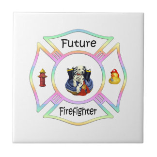 Firefighter Kids Small Square Tile