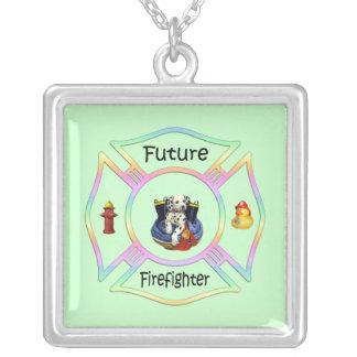 Firefighter Kids Square Pendant Necklace