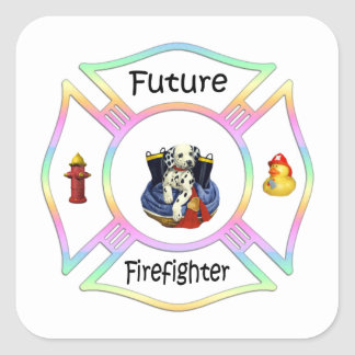 Firefighter Kids Square Sticker