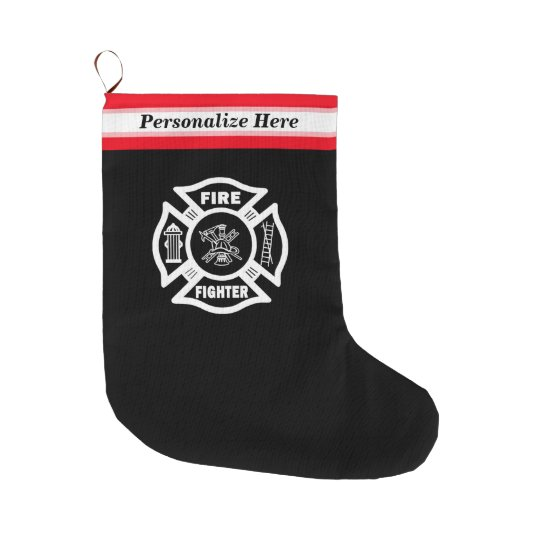 Firefighter Christmas Stocking.Firefighter Large Christmas Stocking
