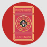 Firefighter Lieutenant Classic Round Sticker