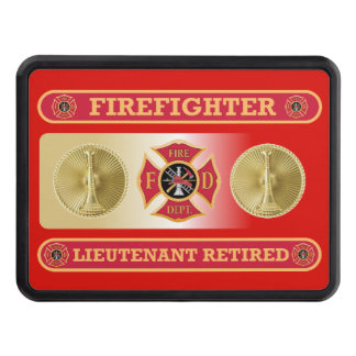 Firefighter Lieutenant Retired Shield Hitch Cover