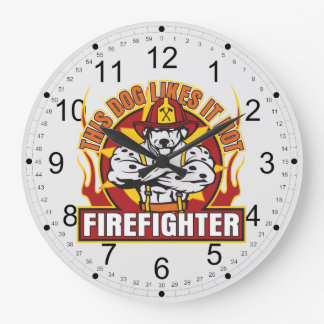 Firefighter Likes it Hot Large Clock