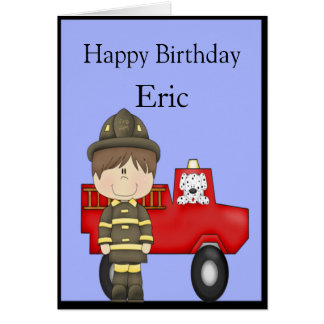 Firefighter, Little Red Fire Truck, Dalmatian Greeting Card