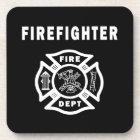 Firefighter Logo Beverage Coaster