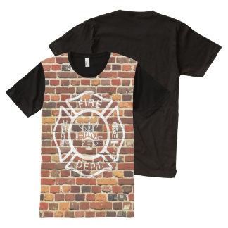 Firefighter Logo Brick Wall All-Over Print T-shirt