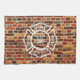 Firefighter Logo Brick Wall Hand Towels