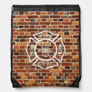 Firefighter Logo Brick Wall Backpack