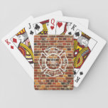 "Firefighter Logo Brick Wall Playing Cards<br><div class=""desc"">Cool brick wall fire department logo design. Great for firefighters.</div>"