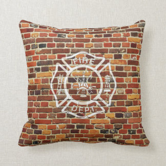Firefighter Logo Brick Wall Throw Pillow