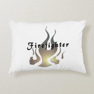 Firefighter Logo Flame Accent Pillow