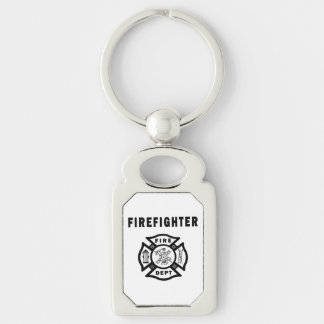 Firefighter Logo Silver-Colored Rectangular Metal Keychain