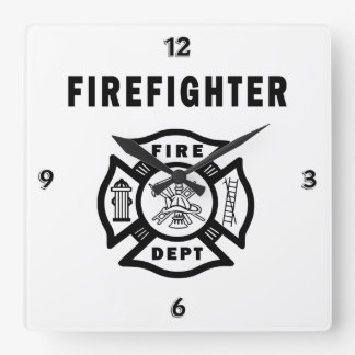 Firefighter Logo Square Wall Clock