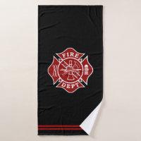 Firefighter Maltese Cross Bath Towel