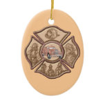 Firefighter Maltese Cross oval ornament