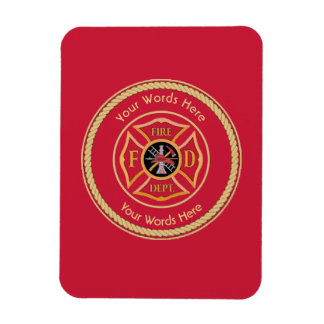 Firefighter Maltese Cross Rope Shield Universal Rectangular Photo Magnet