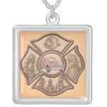 Firefighter Maltese Cross Silver Plated Necklace