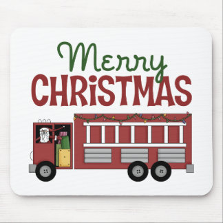 Firefighter Merry Christmas Mouse Pad