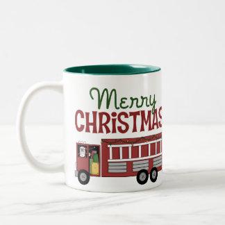 Firefighter Merry Christmas Two-Tone Coffee Mug